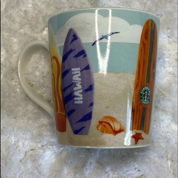 2010 Starbucks New Bone China Coffee Mug Hawaii Surfboard Design 12 fl. oz.